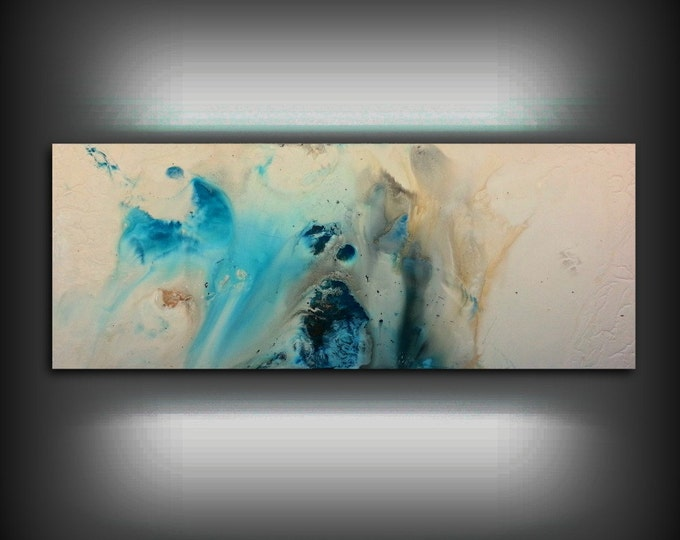 "Beach Coastal Painting 16"" x 40"", Acrylic Painting on Canvas, Abstract Painting, Contemporary Art, Large Wall Art, By L Dawning Scott"
