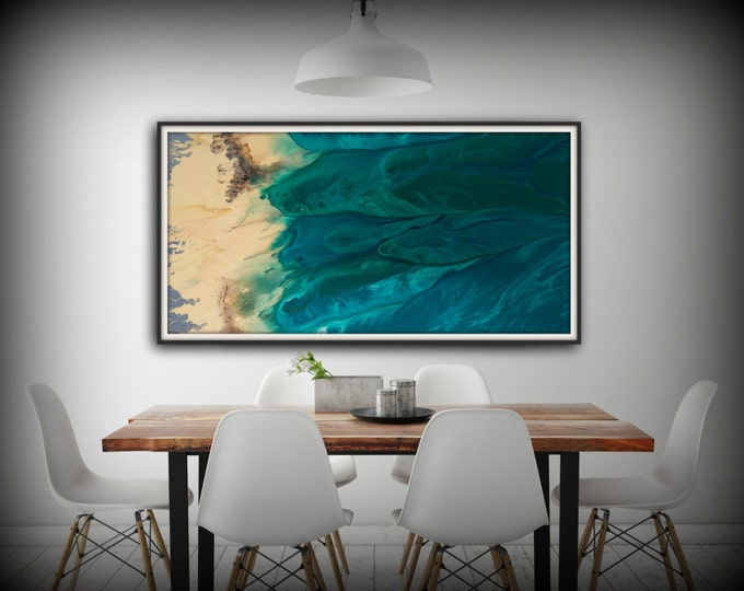 Modern Painting Acrylic Painting GICLEE Art Print Abstract Painting Coastal Landscape Abstract Painting Extra Large Wall Art Living Room
