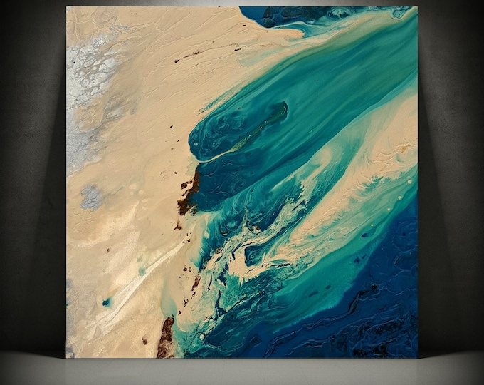 ORIGINAL Painting Art Painting Acrylic Painting Abstract Painting Coastal Wall Hanging Extra Large Wall Art XL Coastal Home Decor 36 x 36