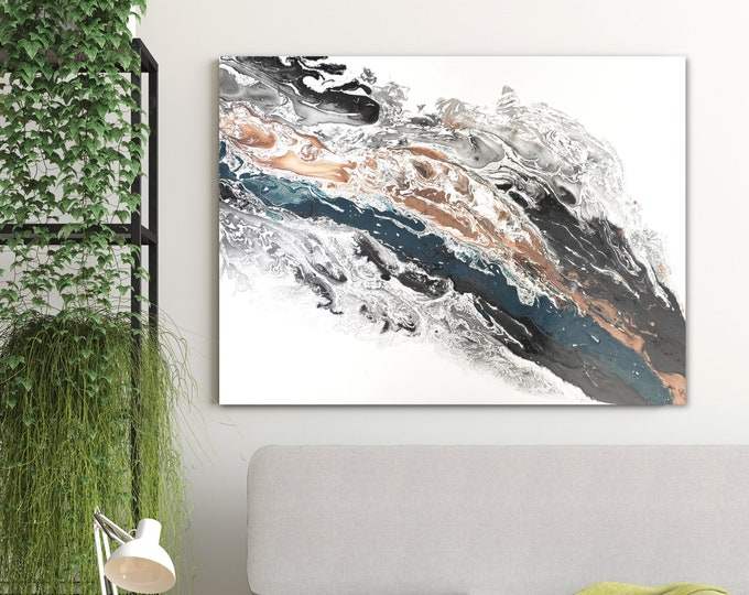 ORIGINAL Painting, Acrylic Painting Abstract Painting, Copper, Teal, Black and White Wall Hanging, Large Wall Art, Modern Wall Decor 30 x 40