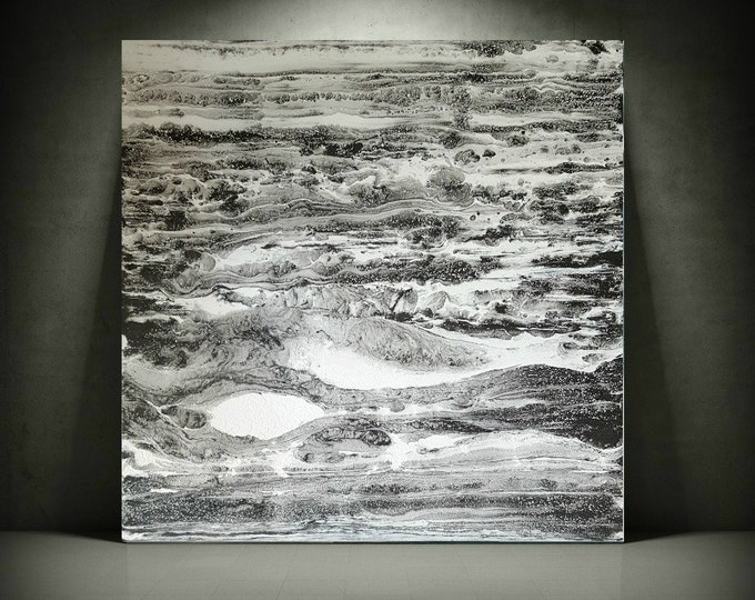 "Painting Abstract Art Painting LARGE Wall Art Home Decor on Canvas by LDawningScott 30 x 30"" Black and White Art"