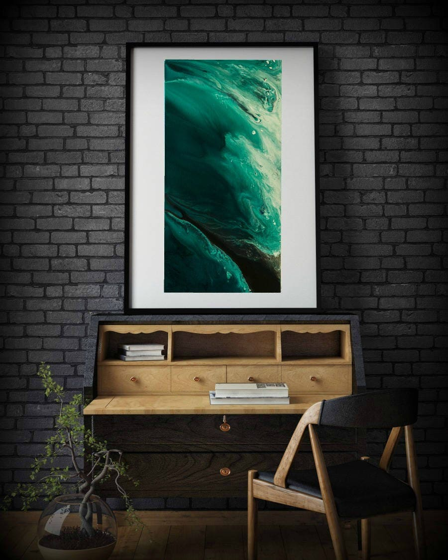 Abstract Room Designs: Abstract Wall Art Print, Abstract Print, Green Minimalist