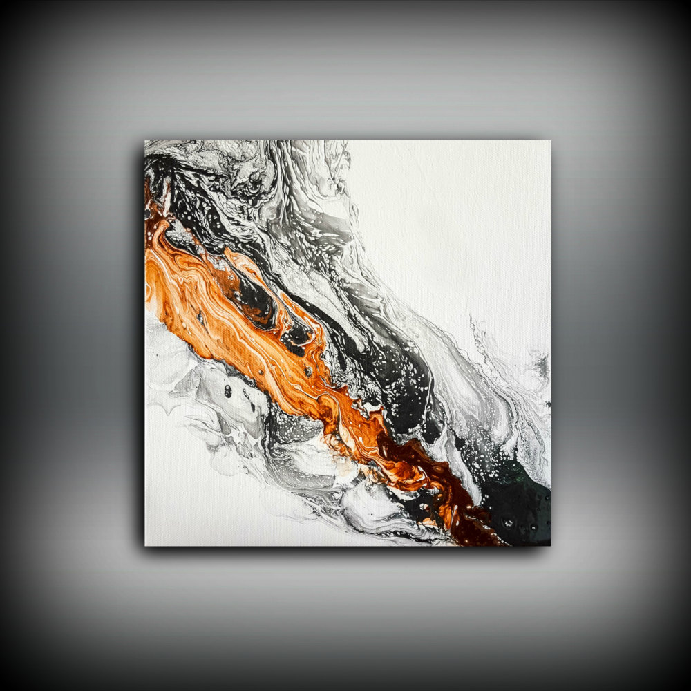 Orange Black Portrait Abstract Canvas Framed Art Large Picture