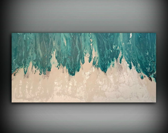 """Art Painting Acrylic Paintings XL / Extra LARGE Abstract Canvas Art Teal Home Decor Wall Art Beach painting by LDawningScott 30 x 60"""""""