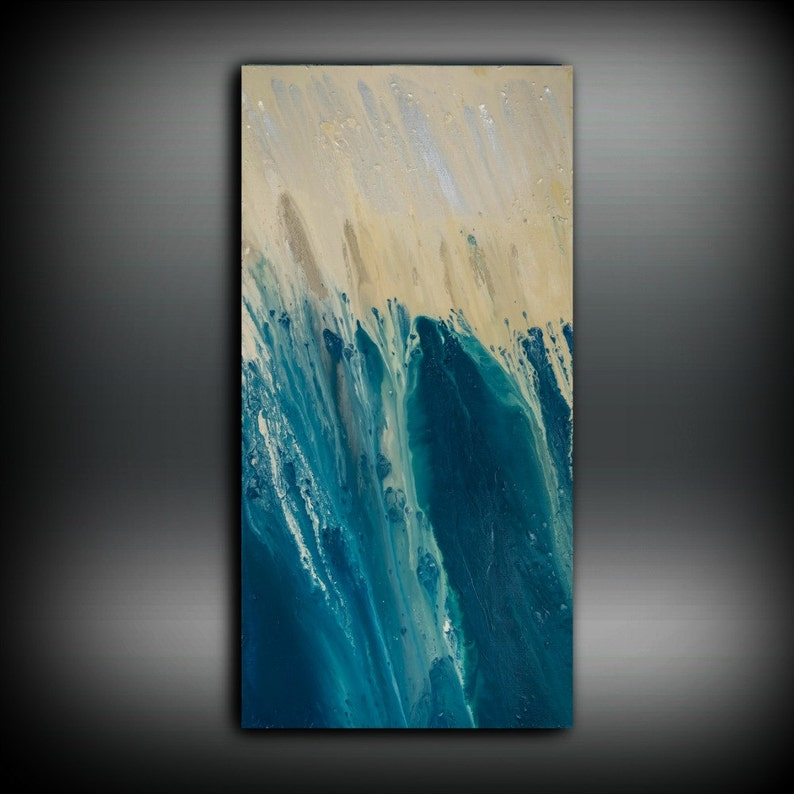 Large Abstract Art Print Teal Blue Abstract Painting Print image 0