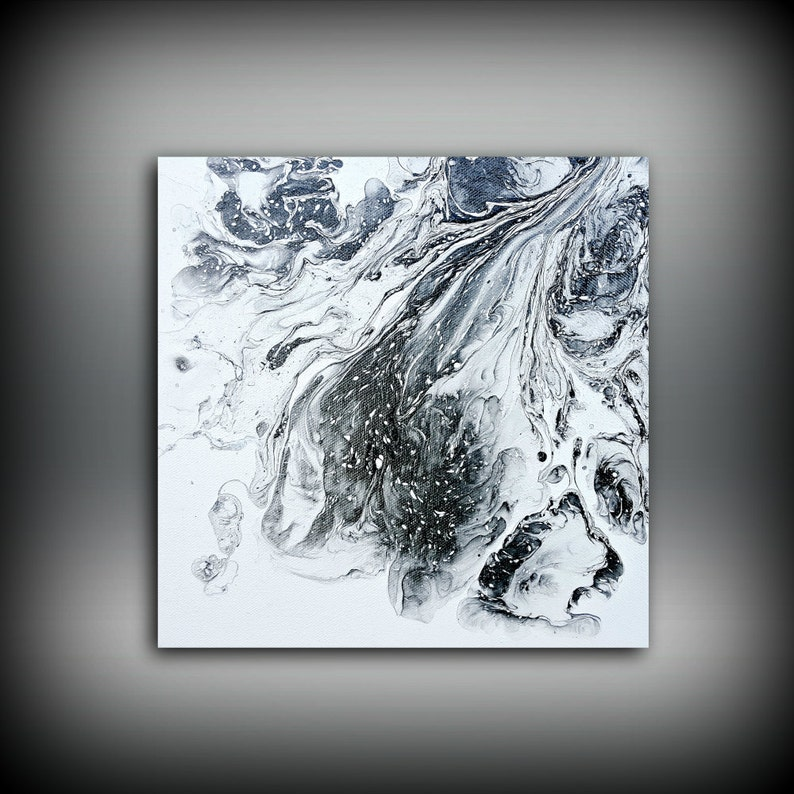 Black and White Painting 10x10 Abstract Painting Acrylic image 0