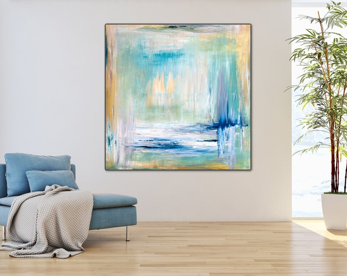 Large Wall Art Print, Large Abstract Painting, Watercolor Painting, Gold Painting Blue Abstract Art Living room Decor Blue and gold painting