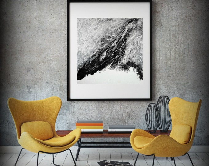 Extra Large Abstract Painting Print Abstract Canvas Print, Black and White Art, Large Abstract Wall Art, Large Abstract Art Fine Art Print