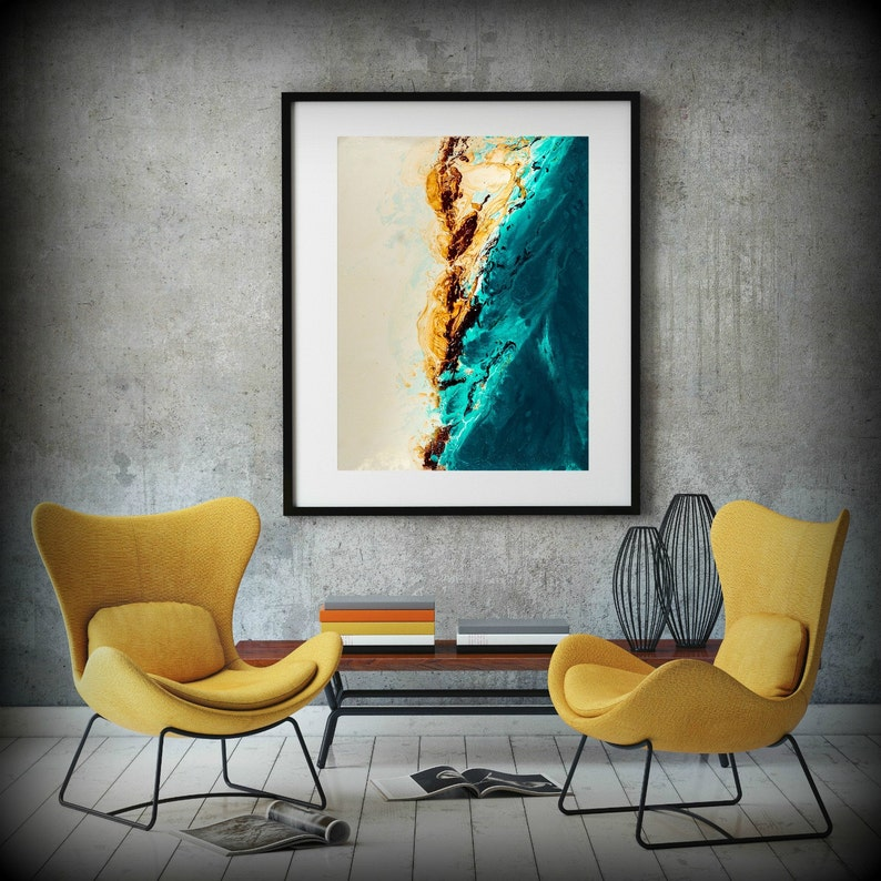 Large ABSTRACT Print of Painting Blue Painting Print Giclee image 0