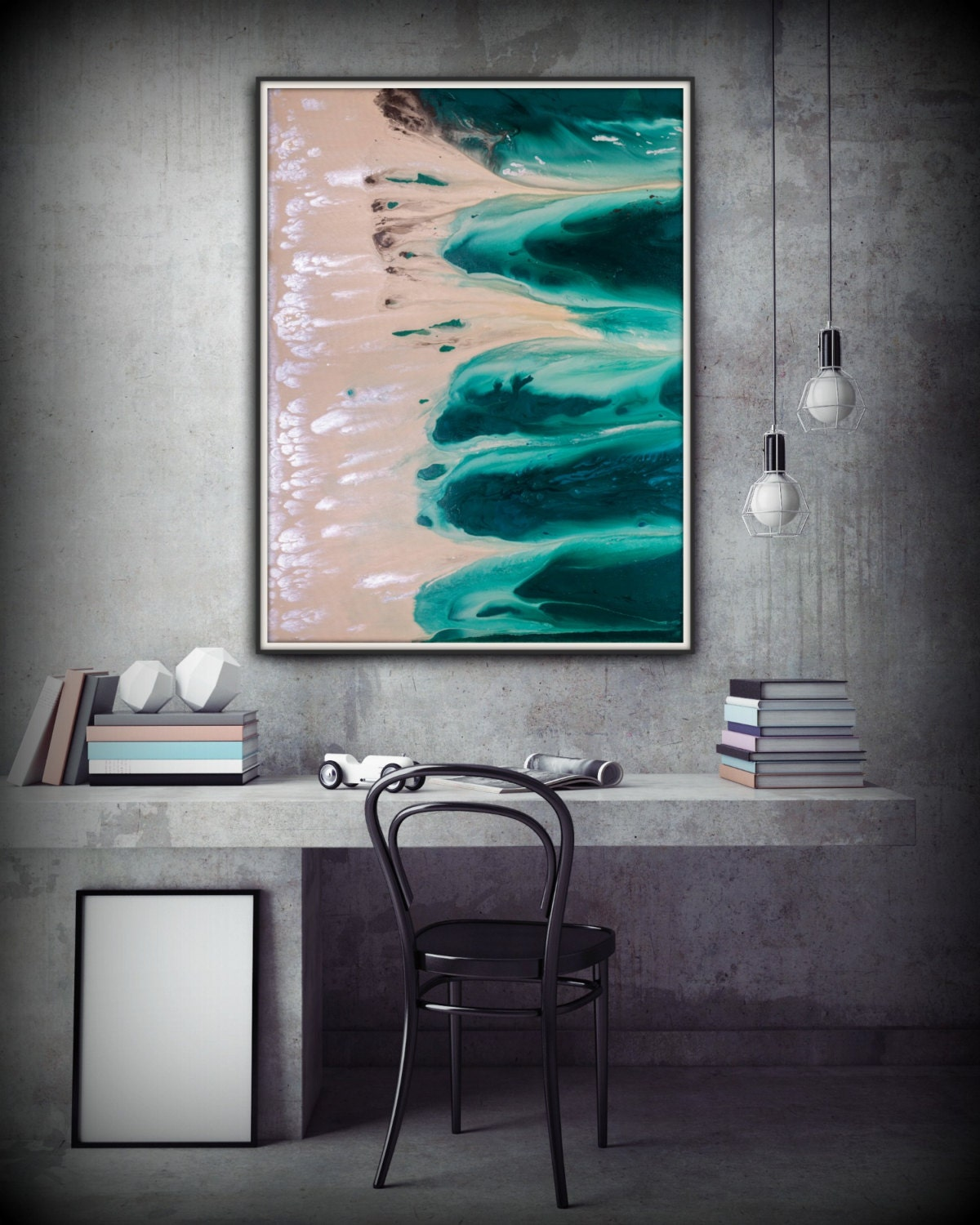 Abstract Art Green Wall Art Coastal Landscape Giclee Large