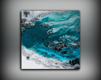 ORIGINAL Painting, Blue Abstract Art, Abstract Blue Painting Home Decor Small Wall Decor, Fine Art, 10 x 10 by L Dawning Scott