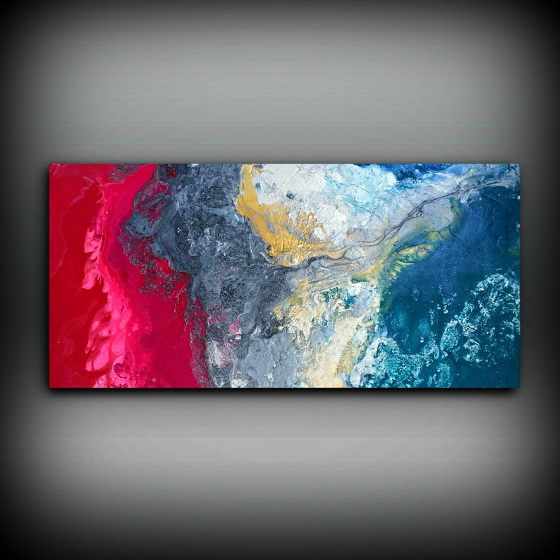 Magenta Painting 24 x48 Acrylic Painting Canvas Art Abstract image 0