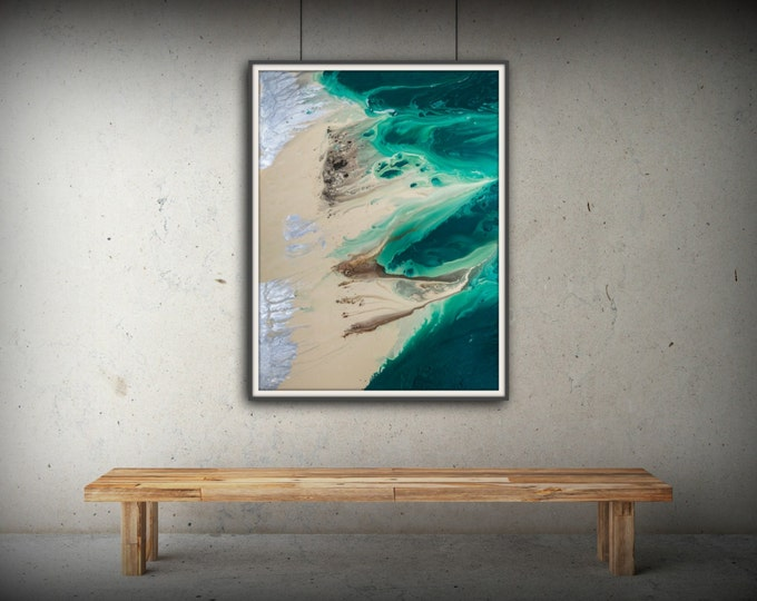 Coastal Art Print, Office Art Print Office Decor Abstract, Zen Painting 8x11-54x72 Huge Wall Art Living room, Bedroom Art Green Painting