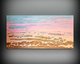 Sunset Wall Art, Minimalist Art, Acrylic Pour Painting, Landscape Art, Pink Painting, Abstract Simple Art