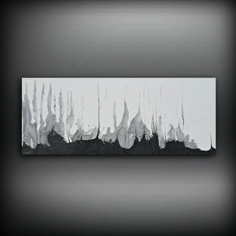 Black and White Silver Painting 16 x 40 Acrylic image 0