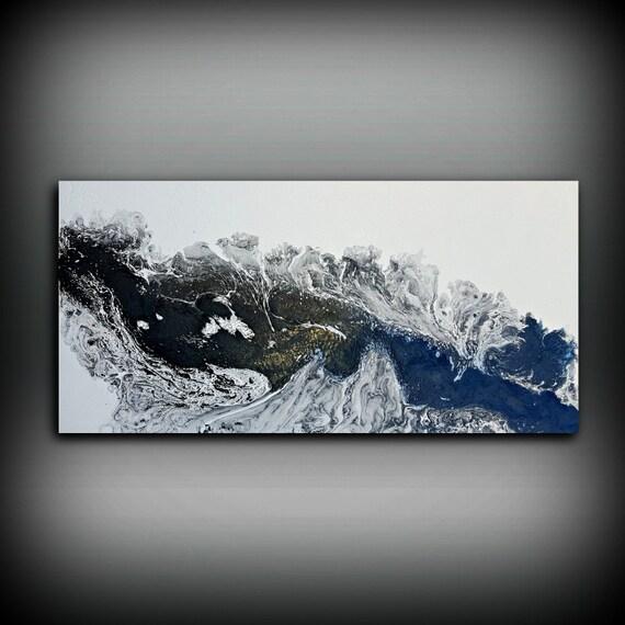 Art Mural Noir Et Blanc Peinture Acrylique 24 X 48 Toile Art Abstrait Peinture Art Contemporain Abstrait Grande Peinture Extra Large