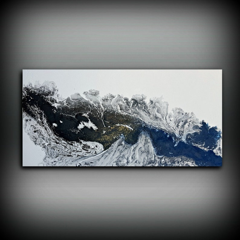 Black and White Painting 24 x 48 Acrylic Painting Canvas Art image 0