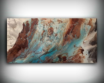 ORIGINAL Painting, Art Painting Acrylic Painting Abstract Painting Copper and Blue Wall Hanging Extra Large Wall Art Modern Wall Decor 24x48