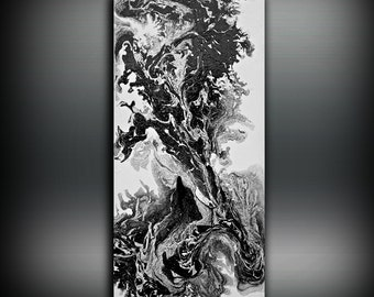 ORIGINAL Painting, Art Painting Acrylic Painting Abstract Painting, Black and White Wall Hanging, Large Wall Art, Modern Wall Decor 24 x 48