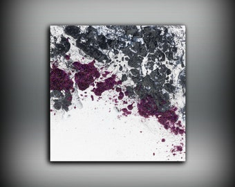 Gift for Women Purple Painting, Fine Art Prints, Abstract Painting, Black and White Wall Decor Prints, Wall Art Contemporary Art 8x8 - 20x20