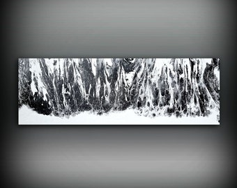 Black Painting 12 x 36 Acrylic Painting Canvas Art Abstract Painting Contemporary Art Large Painting Large Wall Art Black and White Painting