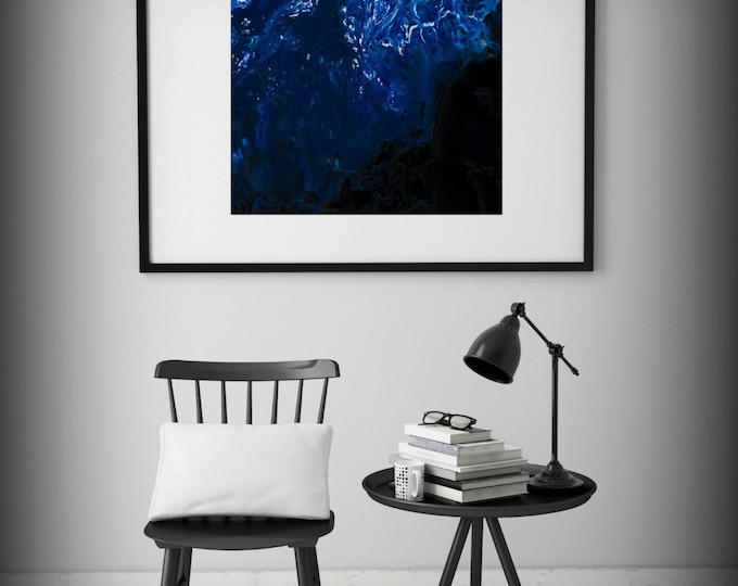 Black and Blue Art, Wall Art Prints, Blue Painting, Fine Art Prints Abstract Painting Wall Decor Art Print Large Abstract Print Wall Art