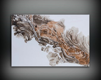 White Painting 24 x36 Acrylic Painting Canvas Art Abstract Painting Contemporary Art Large Painting Large Wall Art White and Brown Painting