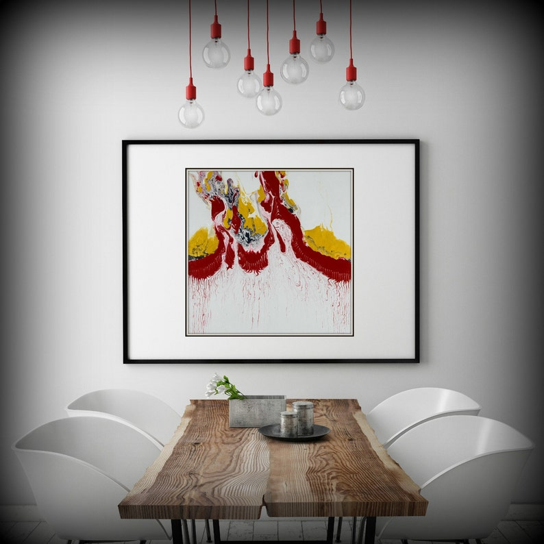 Large WhiteRed and Yellow Abstract Print of Modern Painting image 0