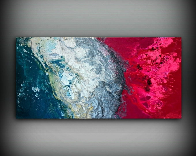 Magenta Painting 24x48 Acrylic Painting Canvas Art Abstract Painting Contemporary Art Large Painting Extra Large Wall Art Hot Pink Painting