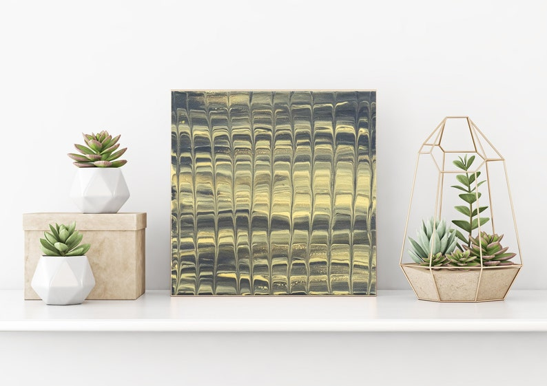 Grey and Gold Art Original Painting Gallery Wall Decor Wall image 0