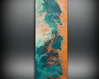 ORIGINAL Painting, Art Painting Acrylic Painting Abstract Painting Green and Orange Wall Hanging, Small Wall Art, Modern Wall Decor 16 x 40