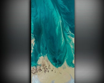 Giclee Painting, Art Painting Acrylic Painting Abstract Painting, Teal Wall Hanging, Large Wall Art, Modern Wall Decor Gift 8 x16 - 48 x 96