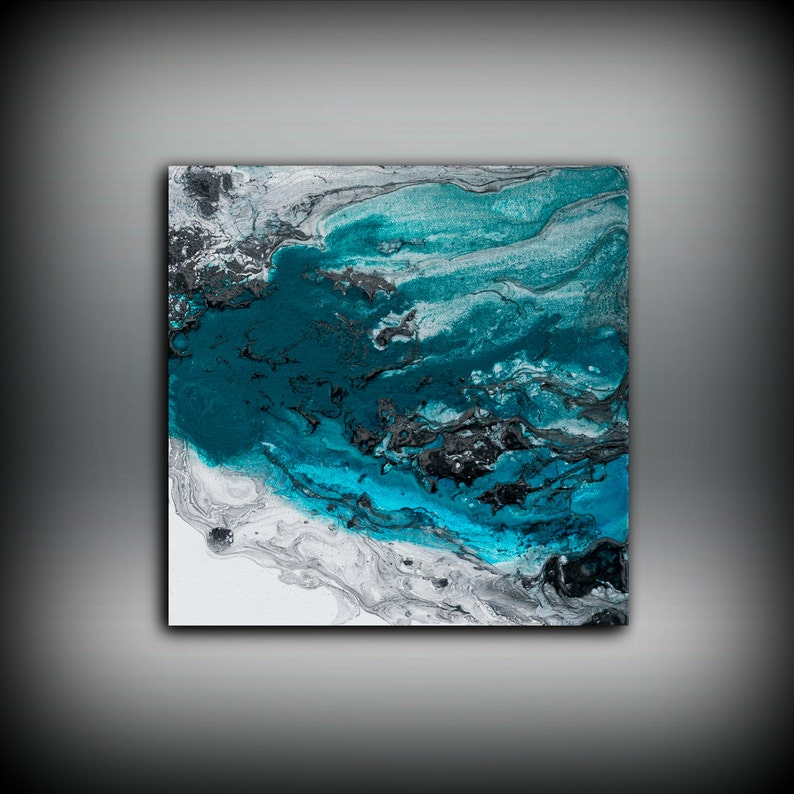 Blue Painting Square Fine Art Prints Abstract Painting Black image 0