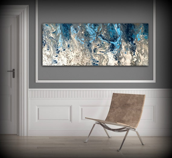Large Abstract Painting Print Navy Blue Print Art Large