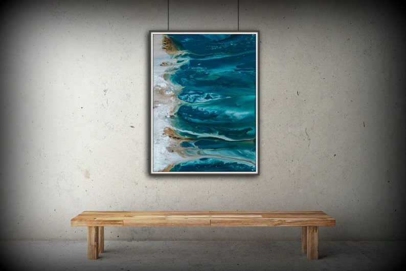 Abstract Art Blue Wall Art Coastal Landscape Giclee Large image 0