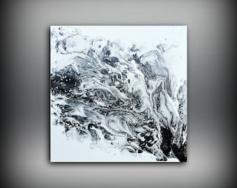 ORIGINAL Painting, Art Painting Acrylic Painting Abstract Painting, Black and White Wall Hanging, Small Wall Art, Modern Wall Decor 10 x 10