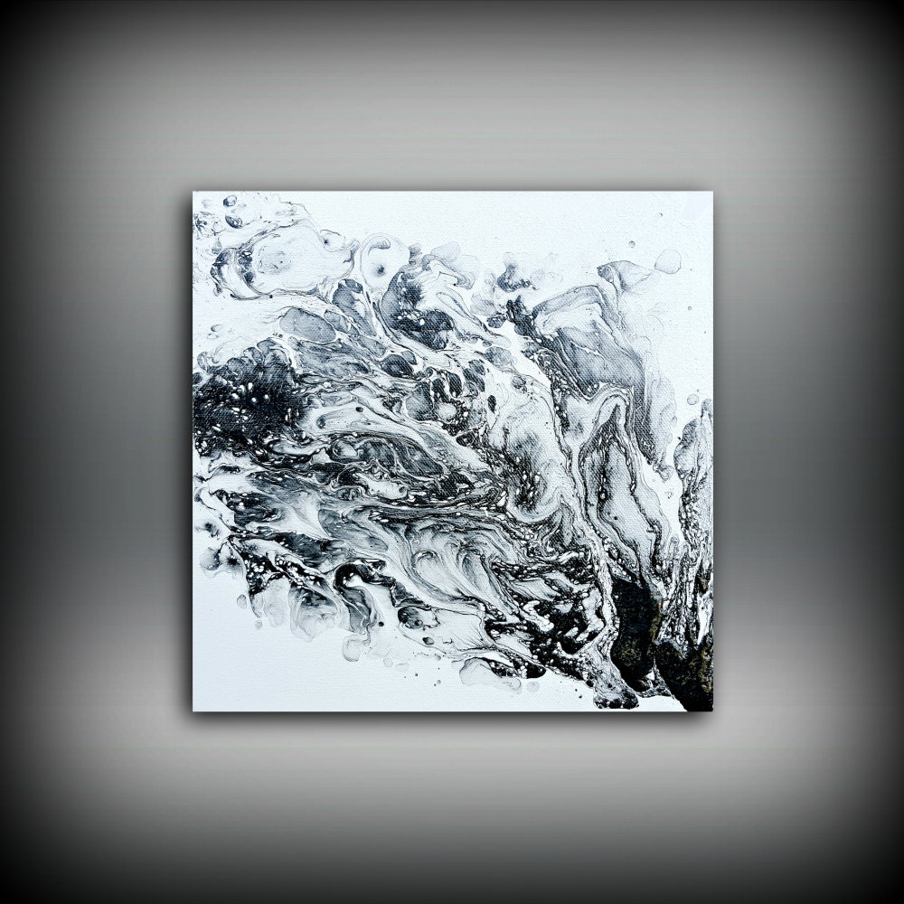 Original painting art painting acrylic painting abstract painting black and white wall hanging small wall art modern wall decor 10 x 10