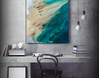 Large ABSTRACT Print of Painting, Blue Painting Print, Giclee Print, Coastal Painting, Teal Wall Decor Gift for Women Gift for Mom