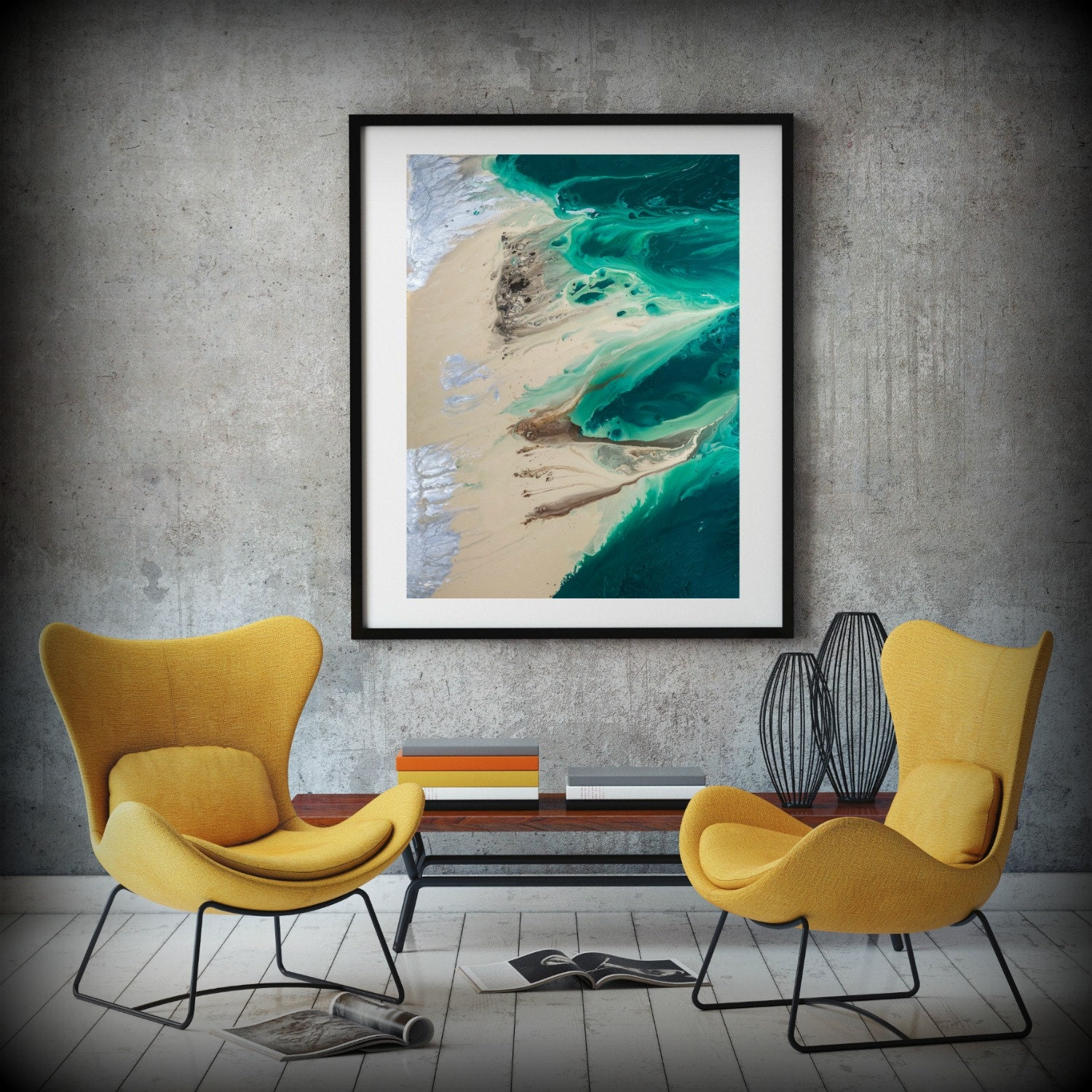 Coastal Art Print, Office Art Print Office Decor Abstract, Zen Painting  8x11 54x72 Huge Wall Art Living Room, Bedroom Art Green Painting