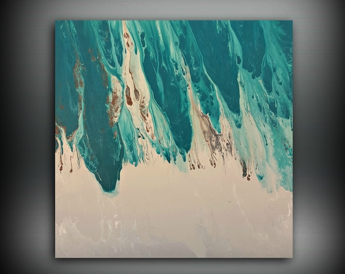 ORIGINAL Painting Art Painting Acrylic Painting Abstract Painting Teal Wall Hanging Extra Large Wall Art XL Teal Home Decor 36 x 36