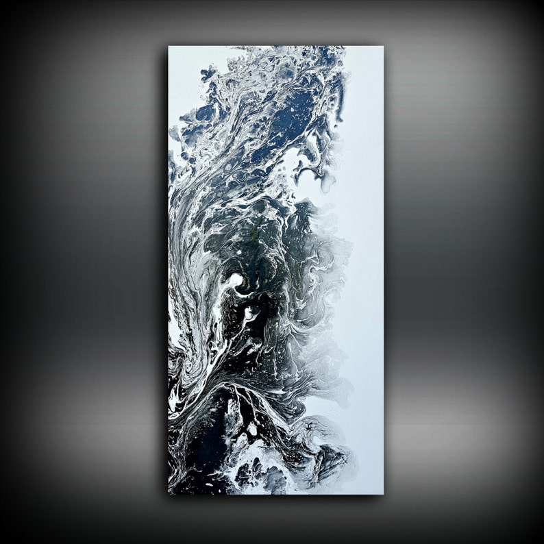 Black and White Painting 24 x 48 Abstract Painting Acrylic image 0
