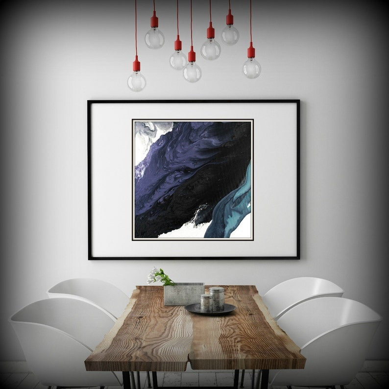 Large Abstract Painting Print Black and Purple Painting Extra image 0