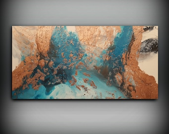 ORIGINAL Painting, Art Painting Acrylic Painting Abstract Painting Copper and Blue Wall Hanging Extra Large Wall Art Modern Wall Decor 30x60