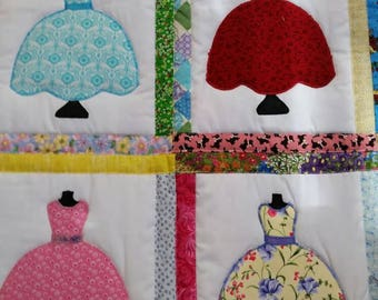 Pretty dresses twin size quilt