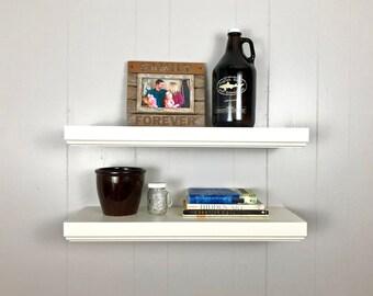 White Floating Shelf Bathroom Shelves Modern Nursery Deep Roman Ogee Trim