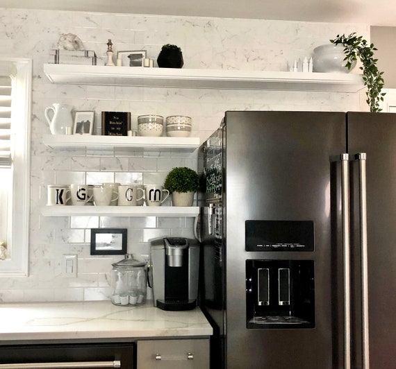 Floating shelf | White kitchen shelving | Multiple trim and color Options |  Need custom changes? See Personalization at Check-out