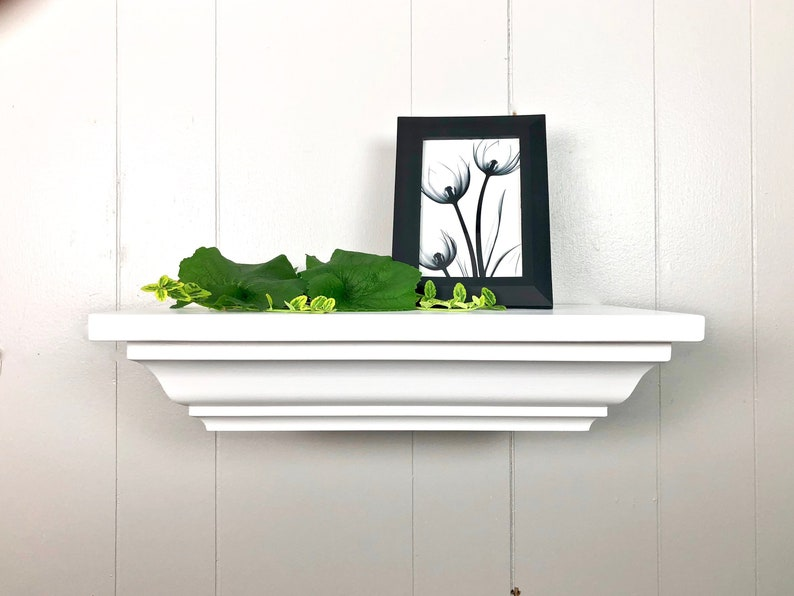 Crown Molding Shelf White Floating Shelf Ledge Shelf Bathroom Etsy