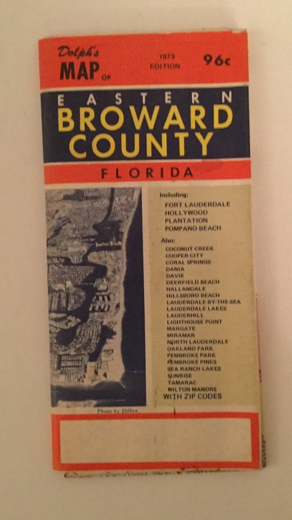 1973 Dolph\'s Folding Map Eastern Broward County Florida