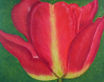 Large Pink Tulip Painting, Acrylic on Canvas, Ready to Hang