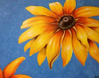 "30"" x 40"" Original Painting, Large Sunflower Painting, Acrylic on Canvas, Ready to Hang"